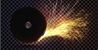 Abstract sparkles effect. Isolated abrasive disc with sparks on transparent background. Realistic cutoff wheel vector single object